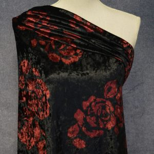Crushed Panne Velour, Red Roses on Black - 1/2 meter