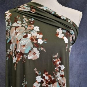 brown teal bouquet on dark green double brushed polyester fabric